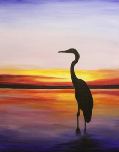 """Sunset Crane"" by Local Host, Aislinn Dawn will be painted on Aug 10 at the Fernwood Inn"